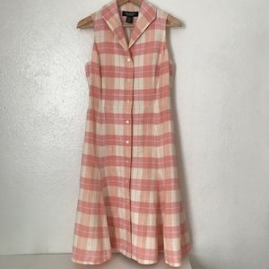 Brooks Brothers linen plaid pink midi dress